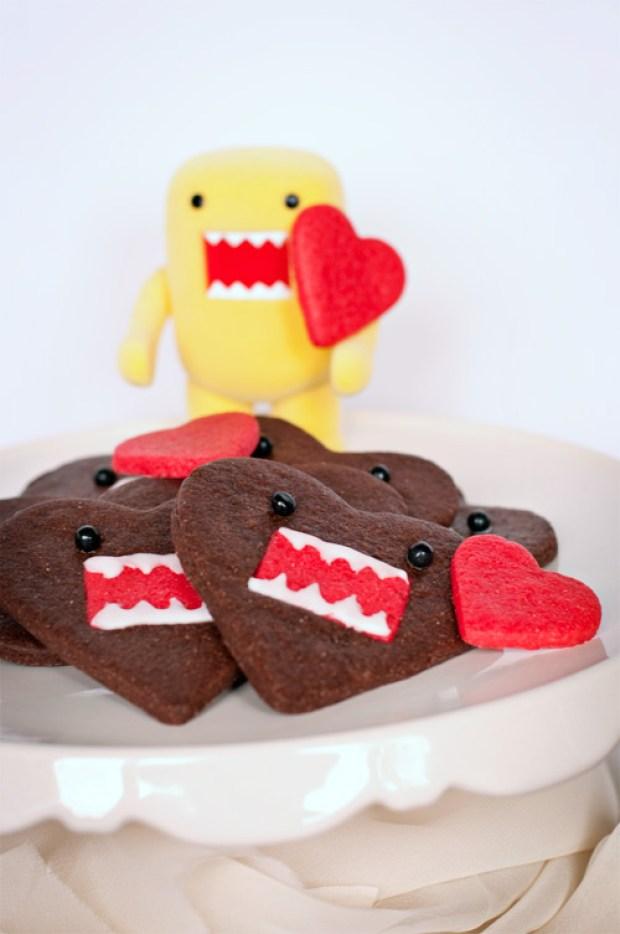 chocolate domo-kun heart cookies