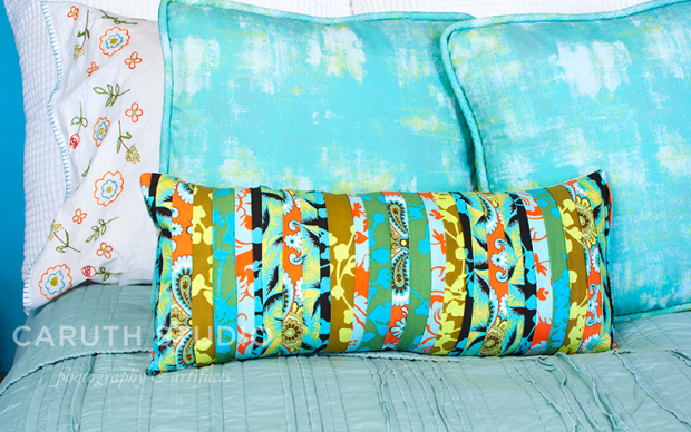 Ribbon pillow and accent pillows