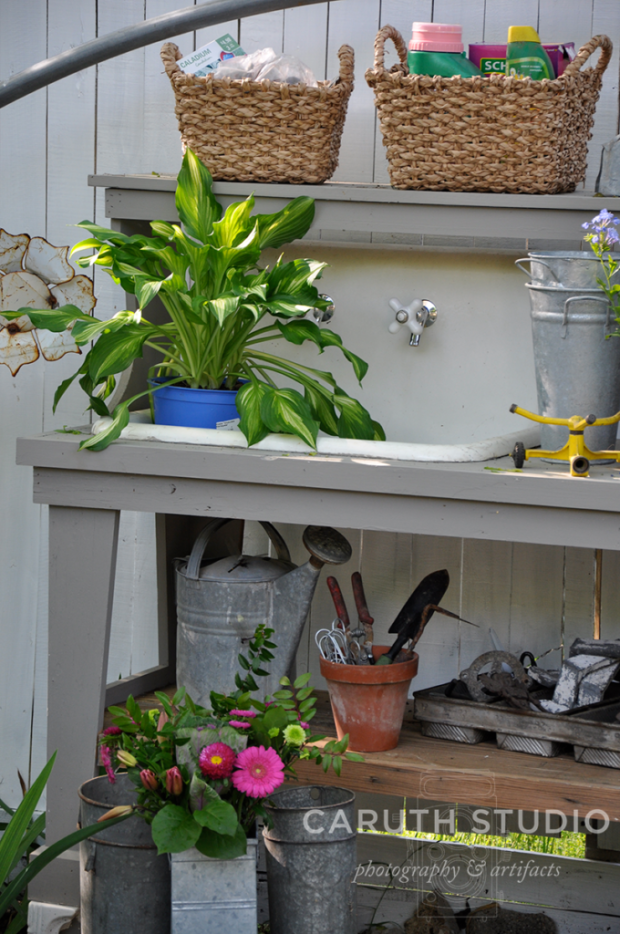 Vintage potting bench detail