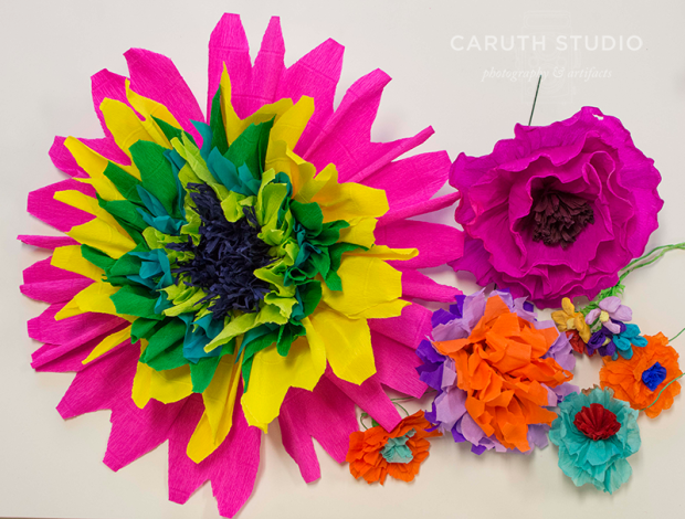 Grouping of paper flowers