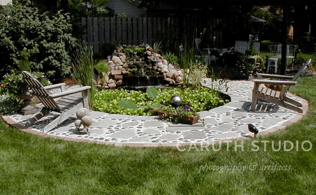 Pond and rock patio