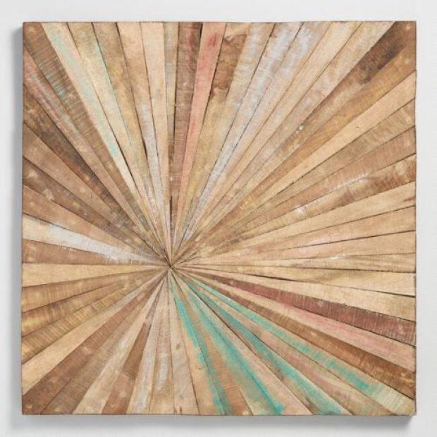 Antiqued Sunburst Wood Panel Wall Decor