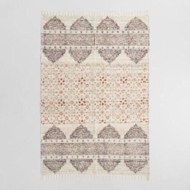 Hand Block Print Linen Nabila Area Rug