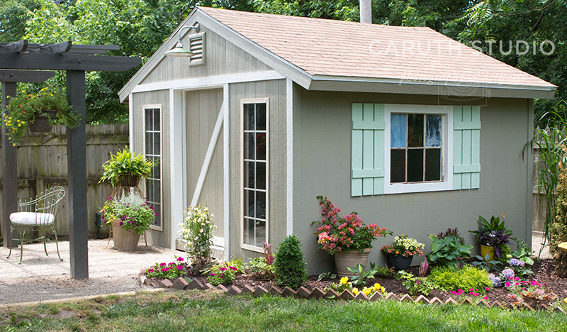 Building a garden shed inside the she shed caruth studio for Garden office with side shed