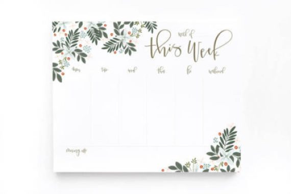 Morning Blooms Weekly Planner Pad