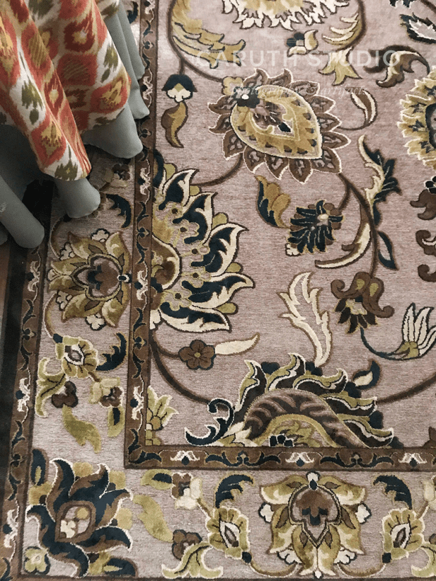 fancy textured rug with botanical imagery