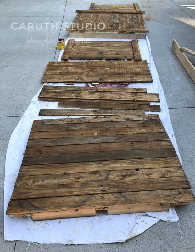 All pieces laid out to stain