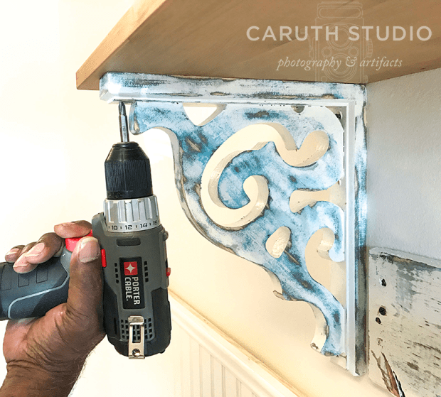 Attach corbels to shelf
