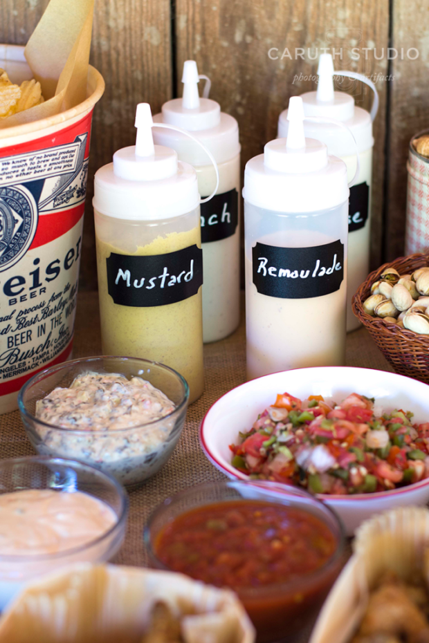 Mark your condiments with chalk names.