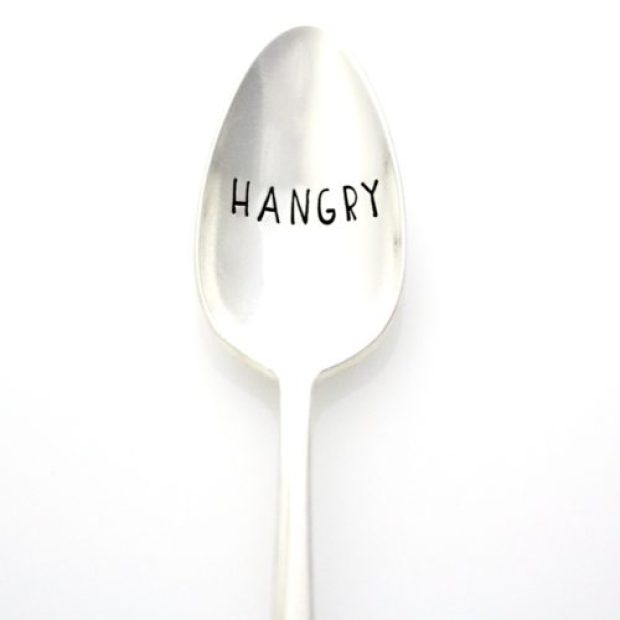 """Hangry"" Hand Stamped Vintage Spoon"