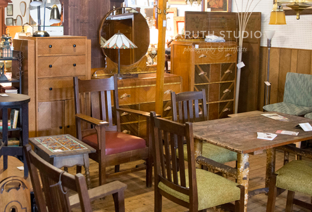 midcentury hutches, craftsmen dinning tables and chairs and loads of wood furniture