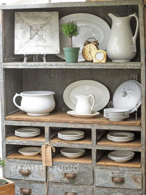 Vintage ironstone dishes with white glazing
