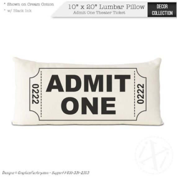 Admit One movie ticket decorative throw pillow
