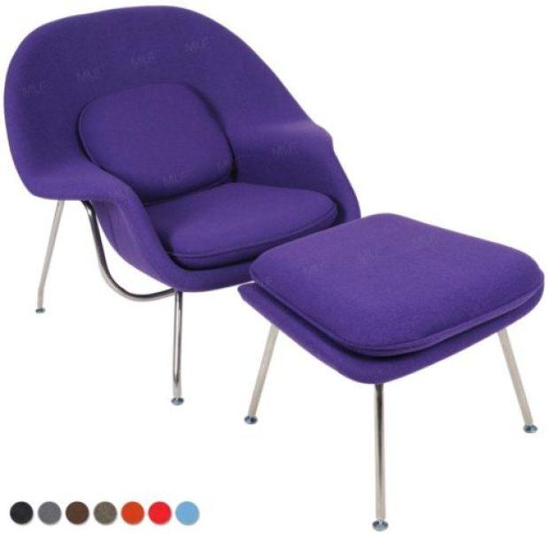 MLF® Eero Saarinen Womb Lounge Chair and Ottoman