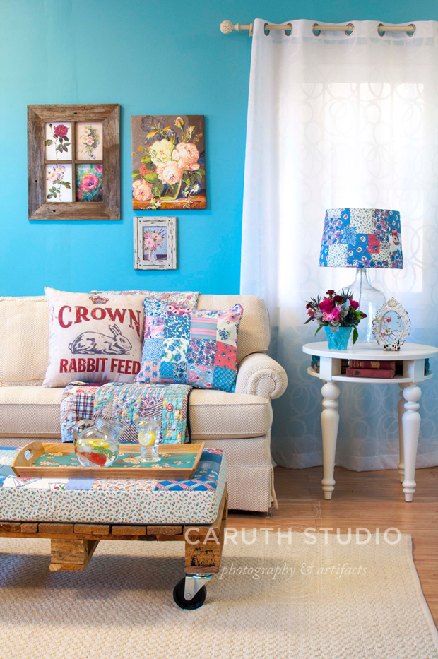 blue and cream patchwork in living room