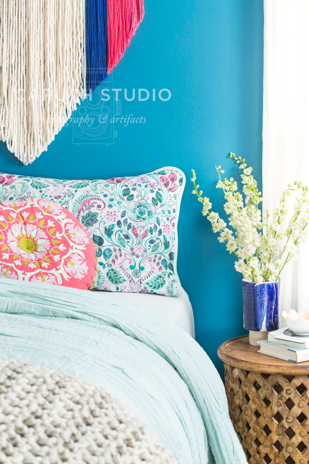 Bedding and side table