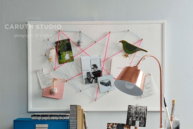 Heart string bulletin board