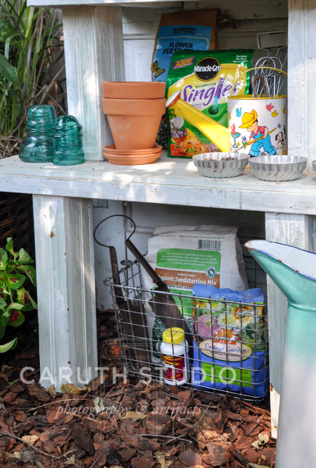 door potting bench storage shelf