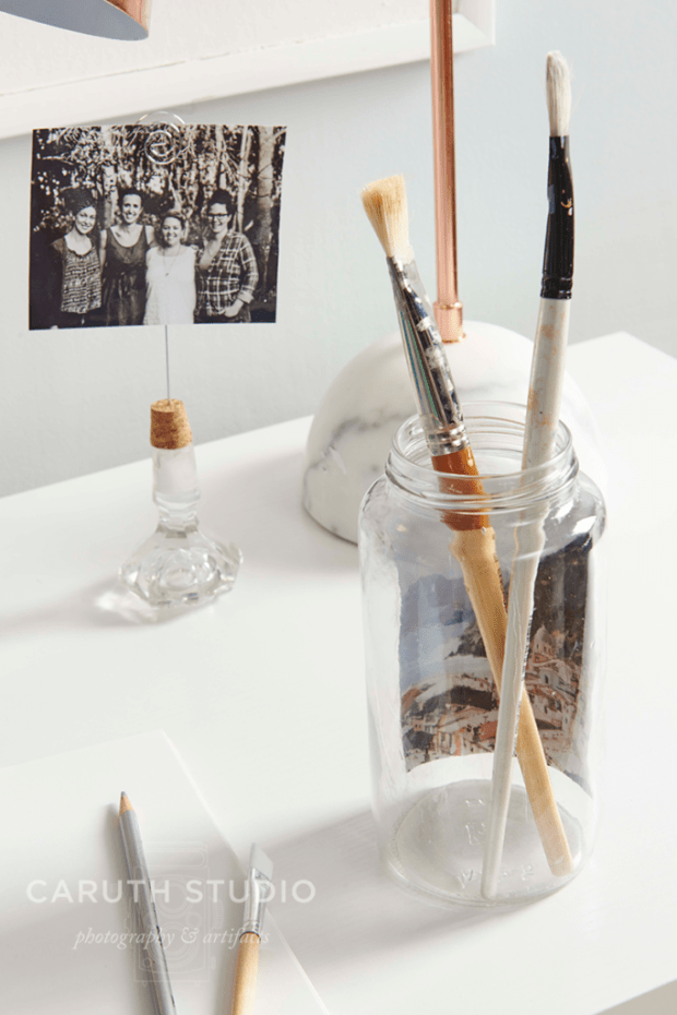 Brushes in jar