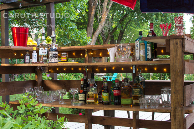 pallet bar all stocked up with goodies for a party