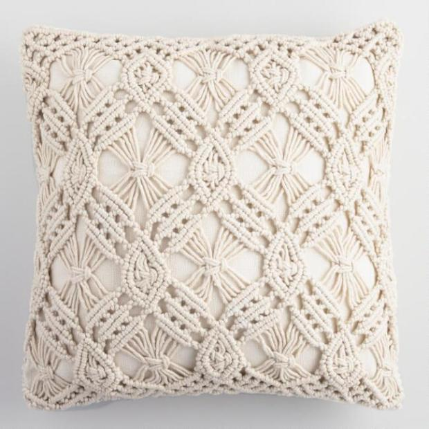 WorldMarket_Natural Macrame Indoor Outdoor Throw Pillow