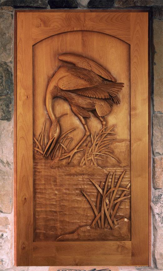 Carved By Ramsey, Carved Wood Doors, Wildlife Carving