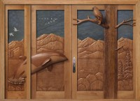 Carved By Ramsey, Carved Wood Doors, Wildlife Carving