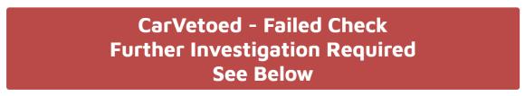 display of a failed CarVeto check