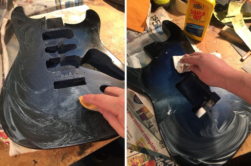 polishing guitar