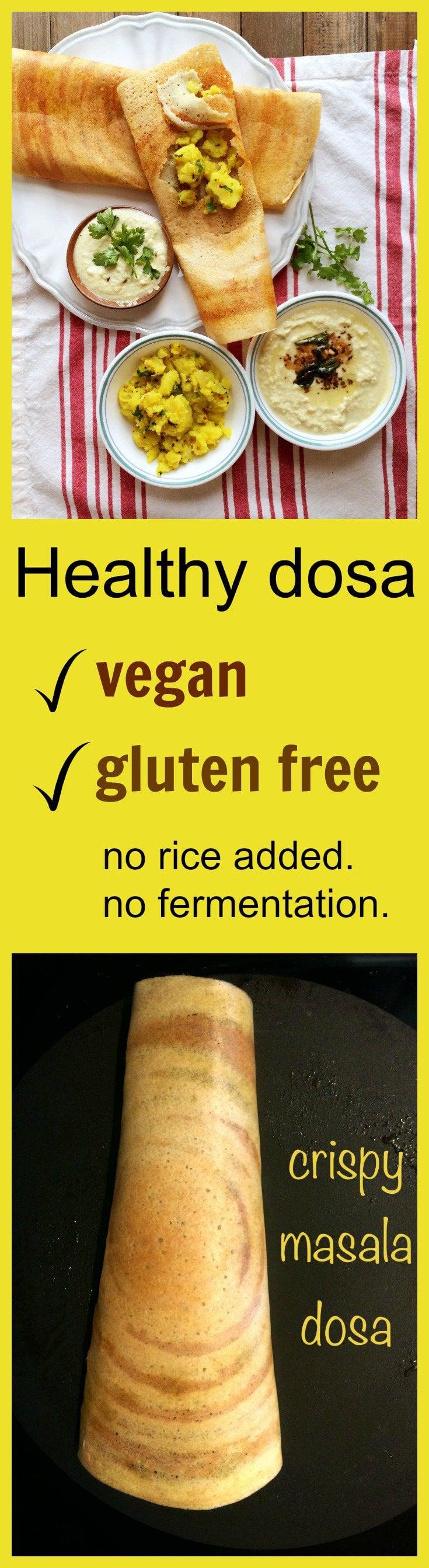 healthy no fermentation no rice dosa #vegan #glutenfree #crepes #indian #instant
