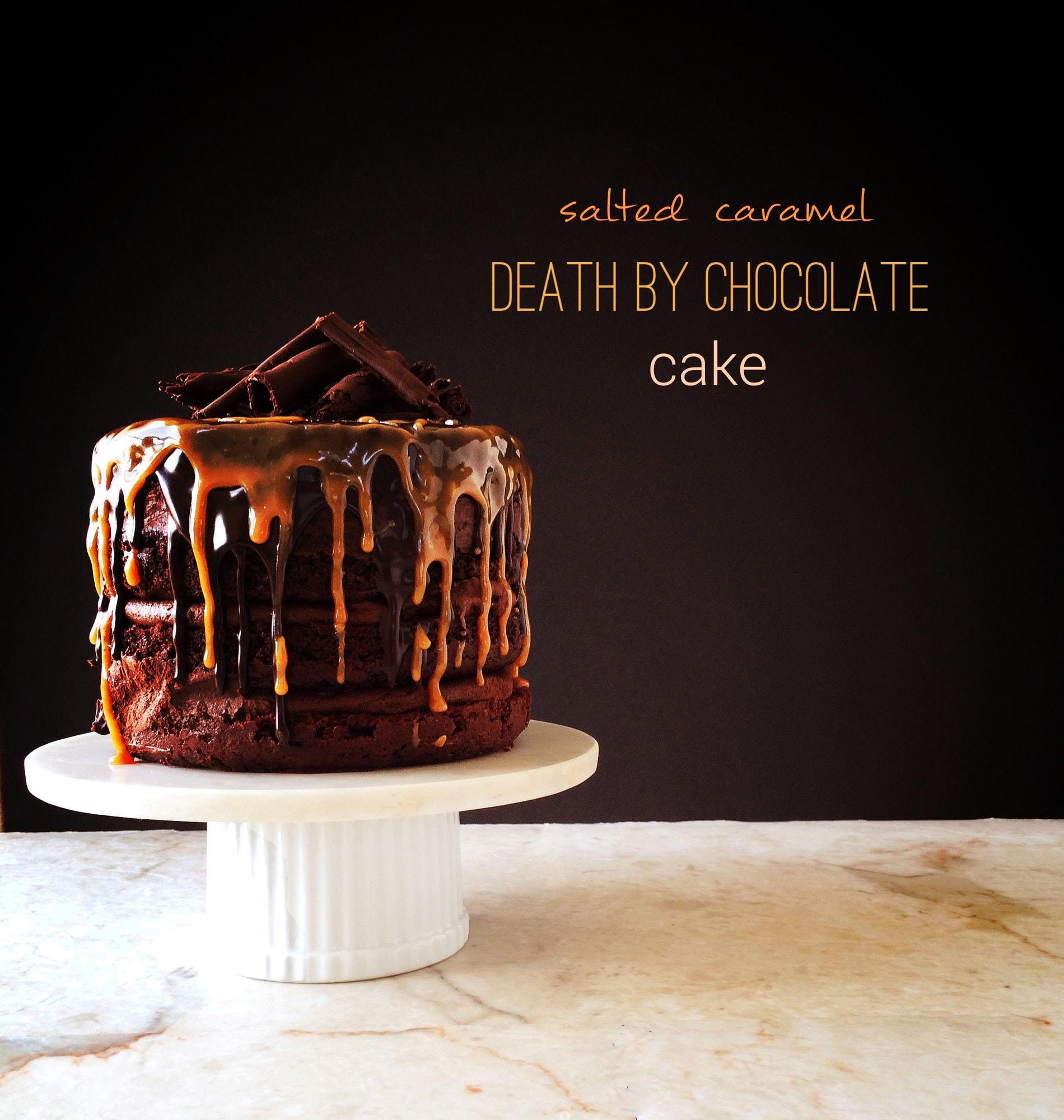 Dark chocolate cake with caramel filling