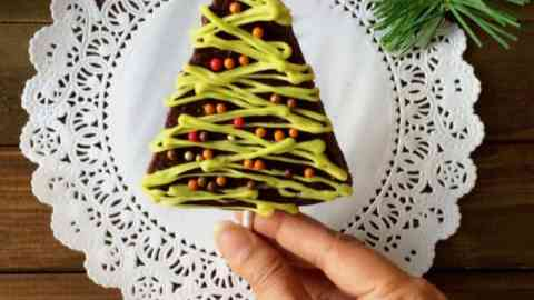 Brownies decorated in Christma tree tyle
