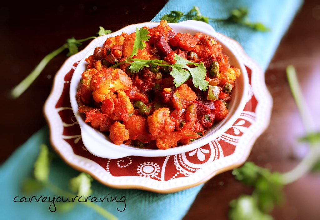 healthy mix vegetable subzi with beetroot boost