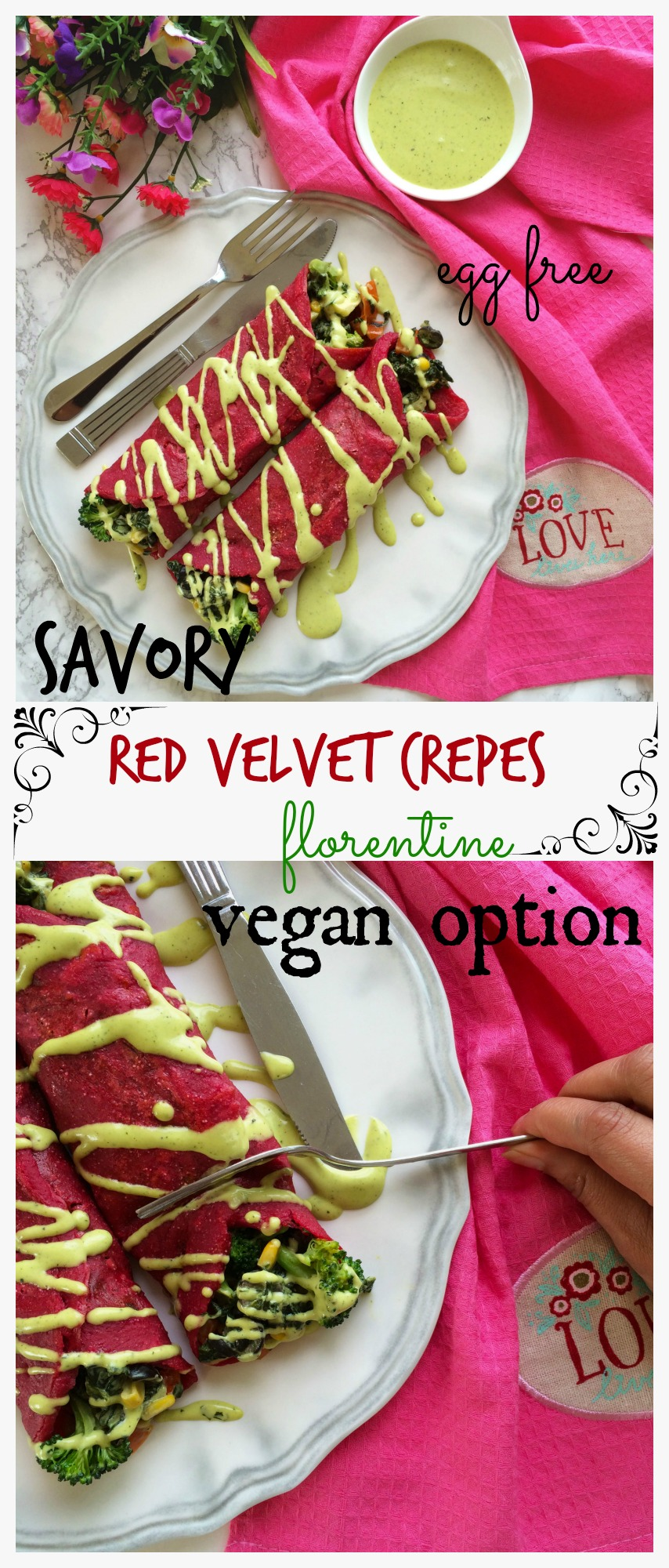 red velvet savory crepes florentine (eggless)