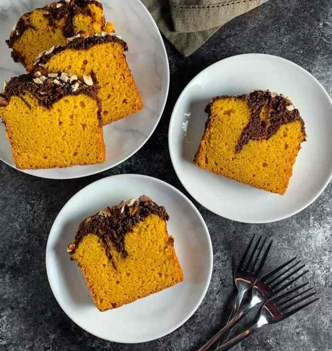 Eggless mango marble cake