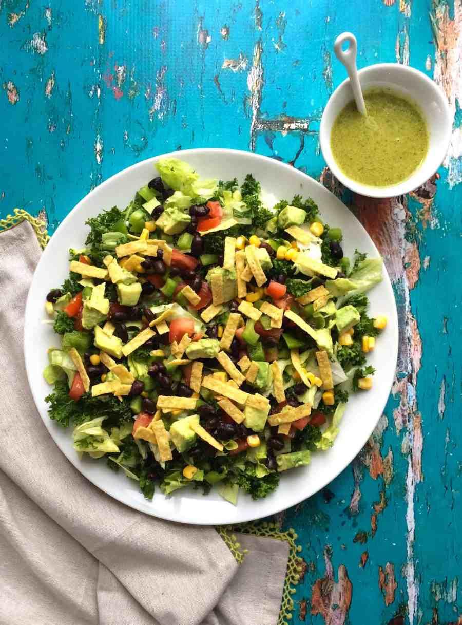 Mexican salad with kale and santa fe dressing (vegan + gf )