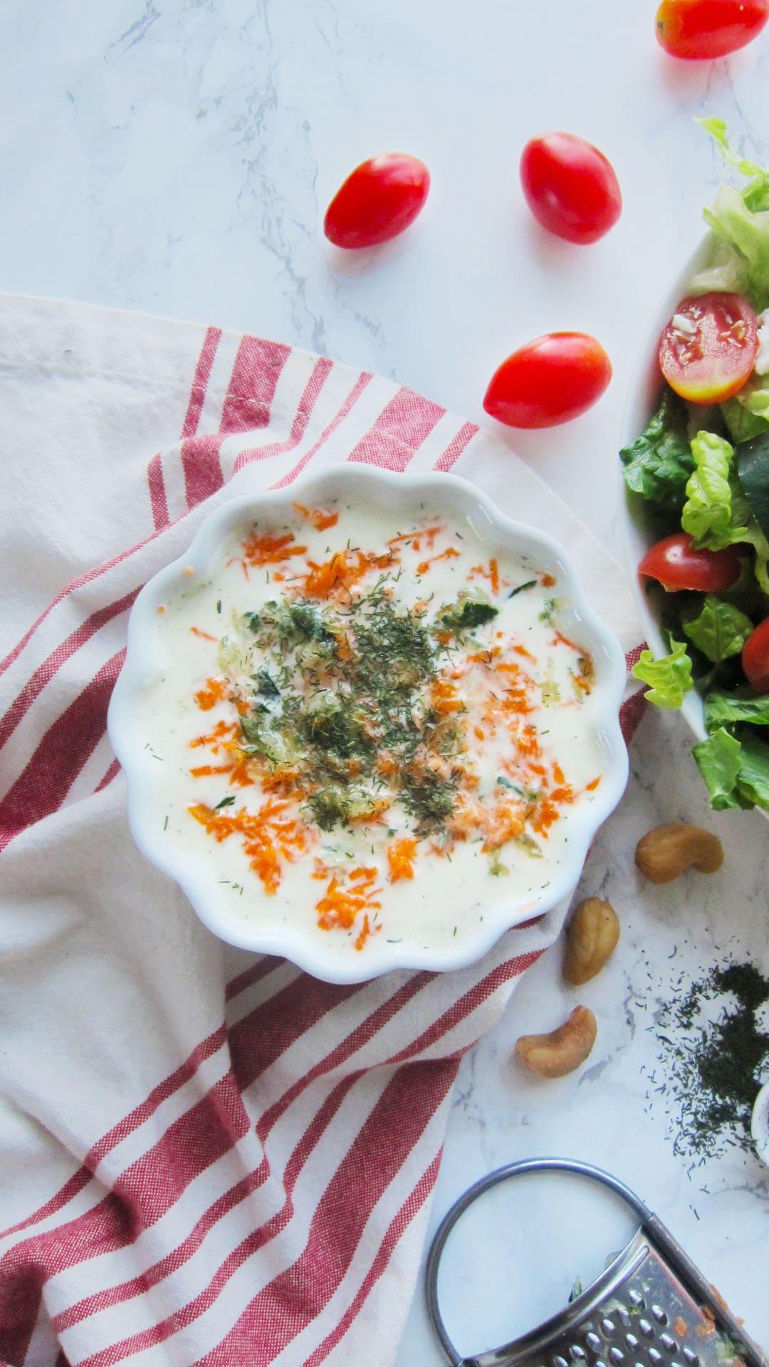 Easy greek salad with vegan cashew tzatziki