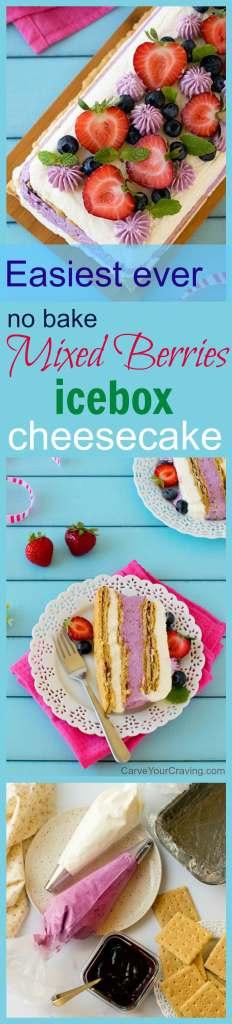Mixed berries icebox cheesecake #eggless #party #dessert #nobake #cheesecake