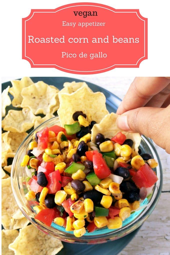 Vegan roasted corn and beans pico de gallo