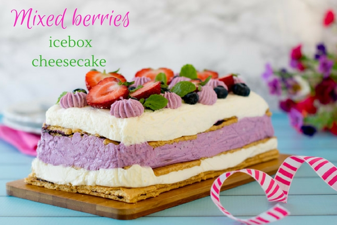 no bake mixed berries icebox cheesecake #eggless #easy #party