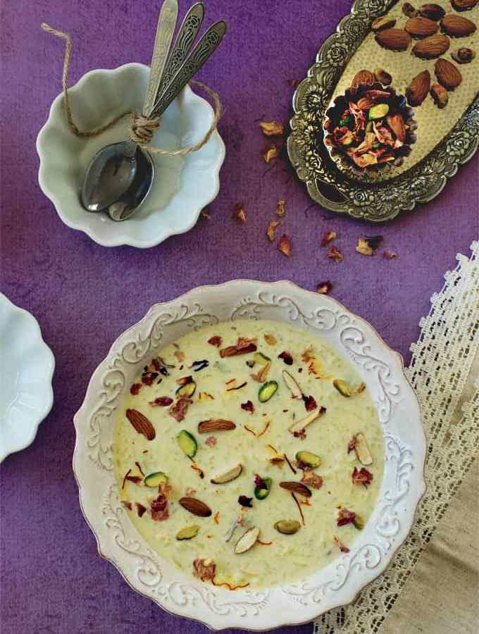 Saffron rice kheer – Indian rice pudding – one pot dessert