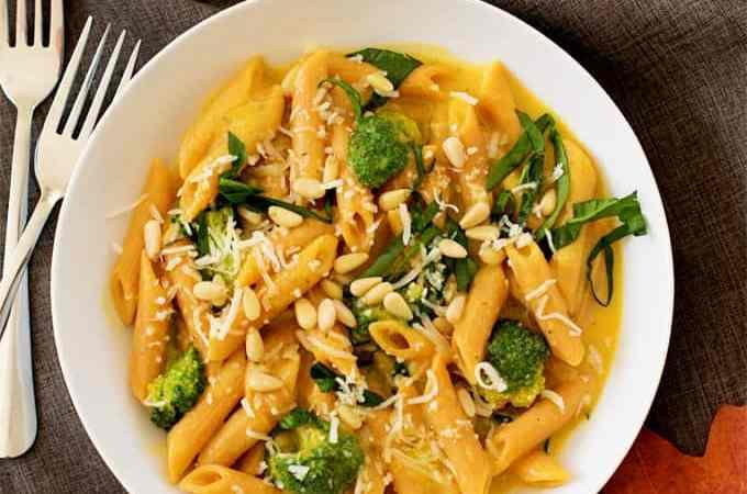 Vegan Creamy butternut squash sauce pasta