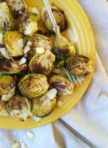 Oven roasted garlic Brussel sprouts with balsamic glaze & almonds
