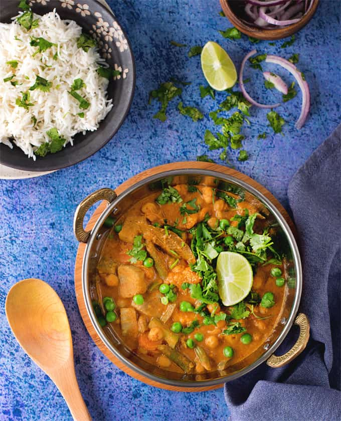 Chickpea Vegetable korma / Instant pot Veg Kurma