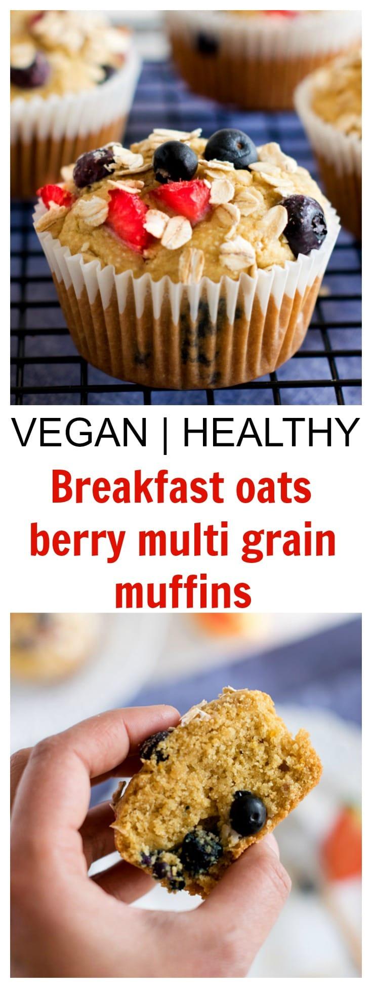 Breakfast oats berry multigrain muffins