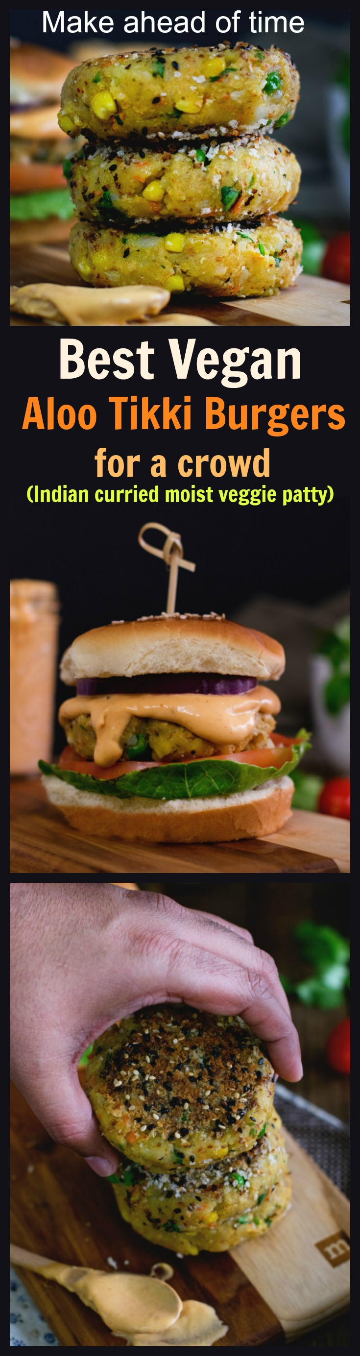 Easy Vegetable aloo tikki burger which is not deep fried. Crunchy vegetable and potato patties sandwiched between burger breads with amazing burger sauce. Better than McDonalds Mc Aloo tikki burger. Vegan potato patties for burger.