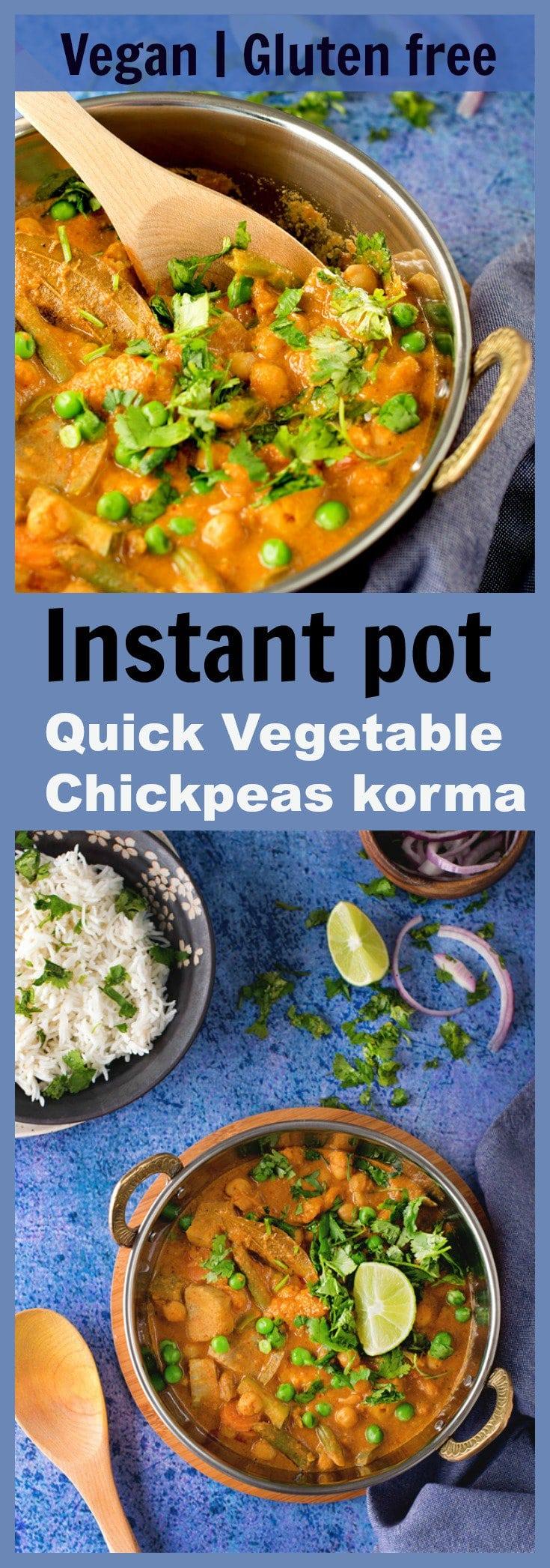 vegetable chickpeas curry korma vegan