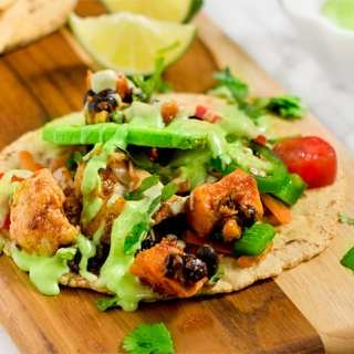 Mexican soft tacos with avocado almond crema