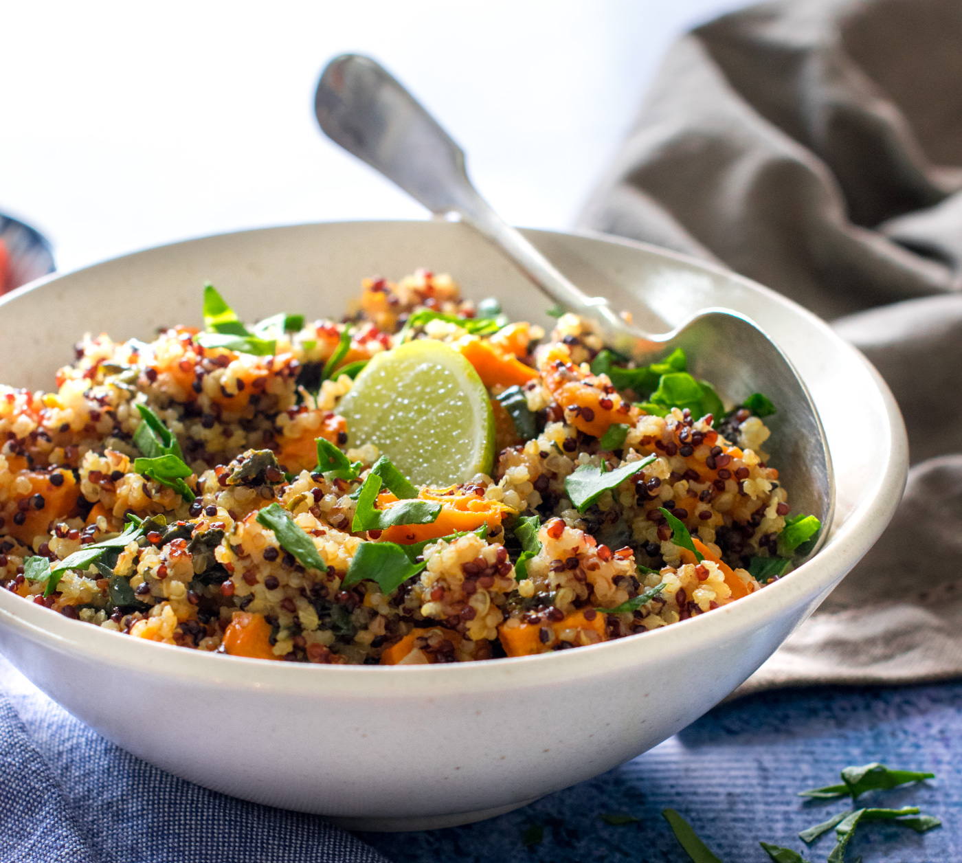 Instant pot curried quinoa spinach sweet potato under 20 minutes