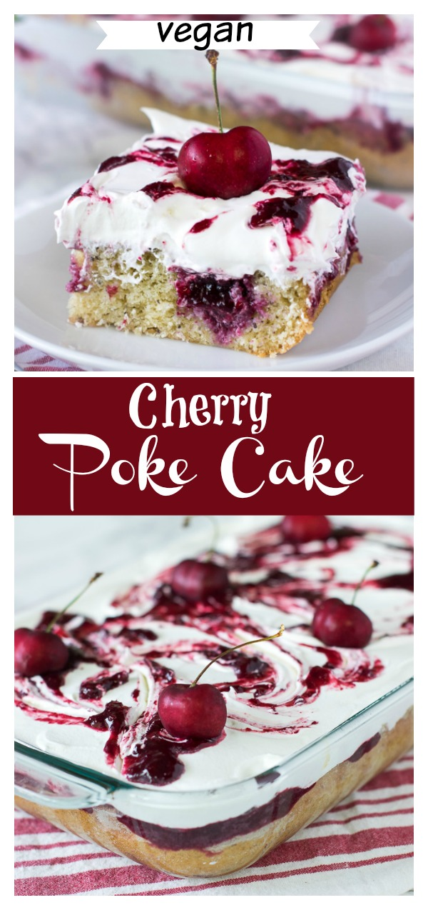 Vegan poke cake made easy from scratch .Perfect for parties or potluck. No expert skills required. Poke it with this delicious homemade cherry pie filling or any other fruit filling of your choice. The soft vanilla sponge is to die for. No one will believe its vegan. #vegancake #vegandessert #fruitcake #vanillacake #pokecake